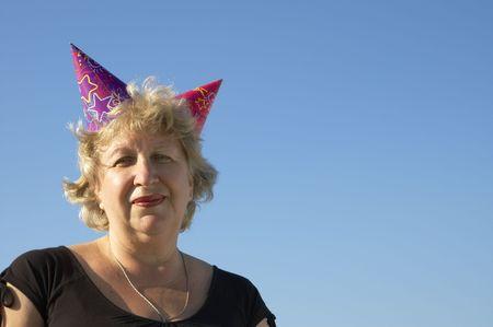 Happy woman in jester cap Stock Photo - 251240