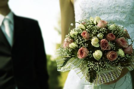wedding day(special toned film photo f/x,focus point on the flowers) Banque d'images