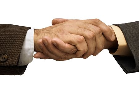 Two businessmen shaking hands ,focus point on the center of the photo Stock Photo - 818539