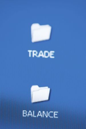 trade and balance folders (focus point on the balance(word), special blue photo toned) Stock Photo - 833827