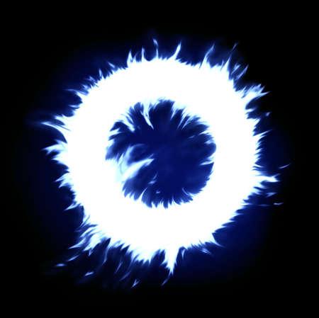 fuego azul: c�rculo azul del fuego (espacio para el texto en el �rea blanca) Foto de archivo