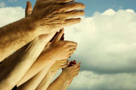 and acclaim: applause (special toned photo fx, focus point on hands(selective)) Stock Photo