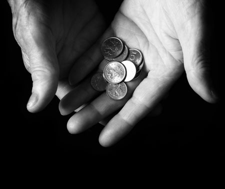 beggary: money concept, special black and white photo fx, focus point on money (selective)