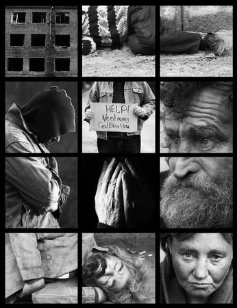 homeless people: homeless (special black and white photo fx and dark grid, made from my images) Stock Photo