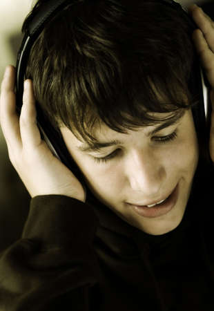 teen listening favorite music, special toned photo fx photo