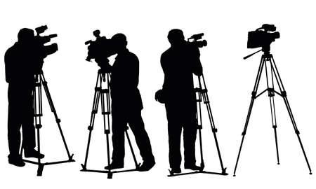 aislados los reporteros con cámaras de vídeo