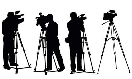 reportage: isolated reporters with camcorders Stock Photo
