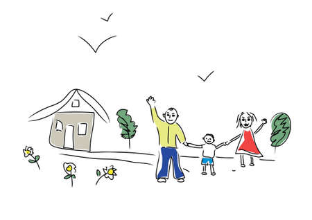 hapiness: Family (this sketch made by me in childrens style) Stock Photo