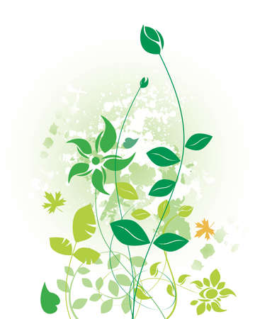 nature background with grunge design and green foliage and leaves