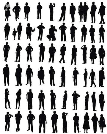 isolated silhouettes on the white background  ,all made from my photos photo