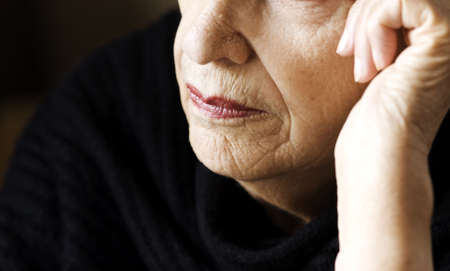 wrinkled: old woman Stock Photo