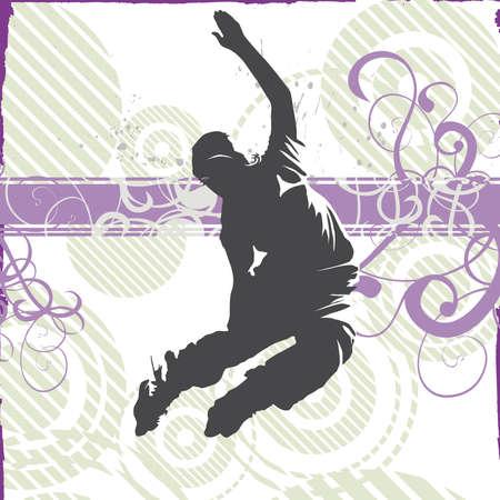 rollerblading:  grunge boy rollerblading