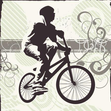 teen on bike (grunge and foliage version) photo
