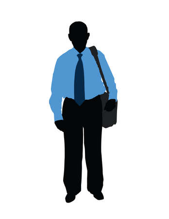 black silhouette of man in the blue shirt isolated on the white background photo