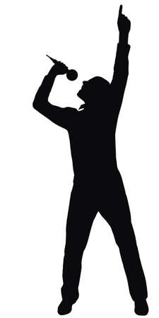mic: silhouette of the singer, made from my photo Stock Photo