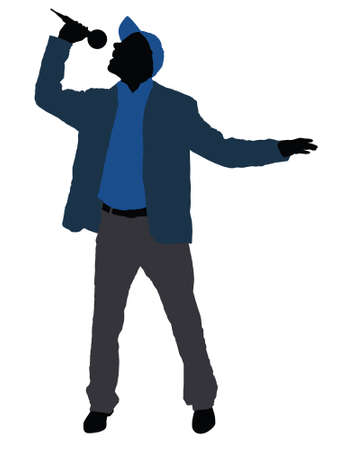 singer silhouette: isolated man with microphone on the white background