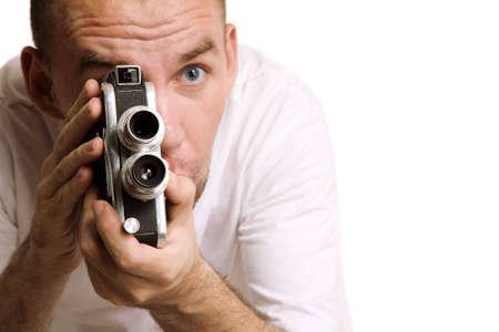 filmmaker: man with retro camera