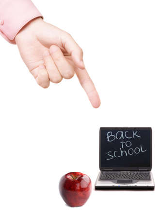 concept with hand of teacher and red apple with laptop isolated on white background Stock Photo - 3404295