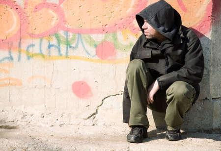 sitting down: homeless