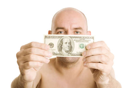 prostitution: man pay cash for prostitution service Stock Photo