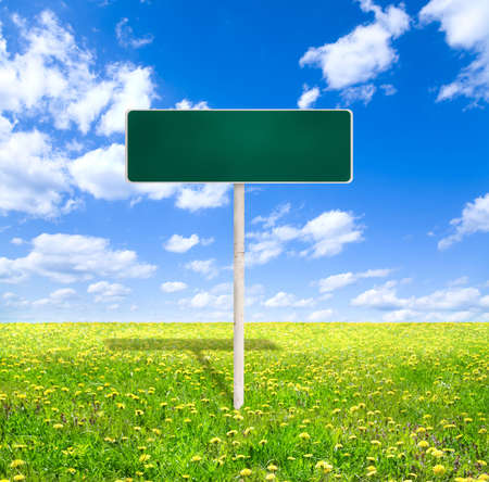 empty green road sign Stock Photo - 3825009