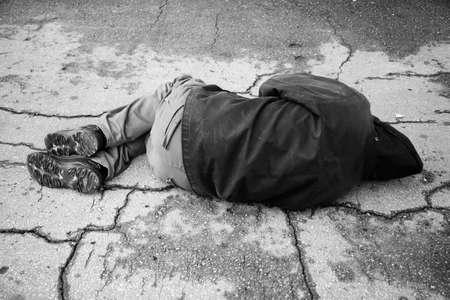 hobo sleep on the street Stock Photo