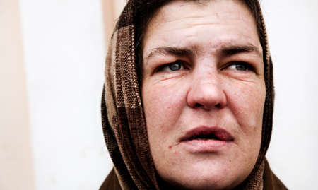 mendicant: hobo woman Stock Photo