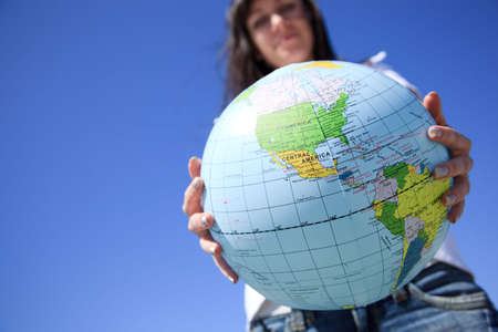 global travel ,selective focus on nearest part of globe