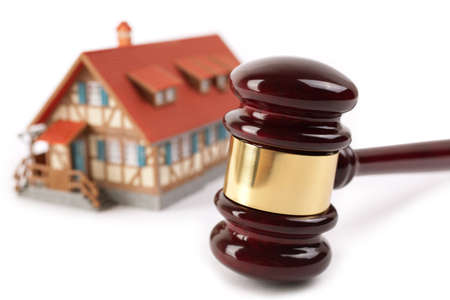 real estate concept,isolated on white background, selective focus on gavel