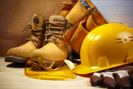 zapatos de seguridad: construcci�n de seguridad Foto de archivo