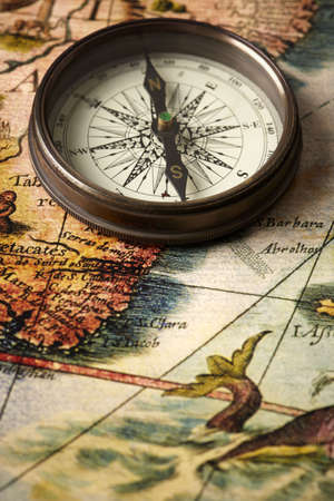 contained: map and compass, photo contained part of old map made in 1863 Stock Photo