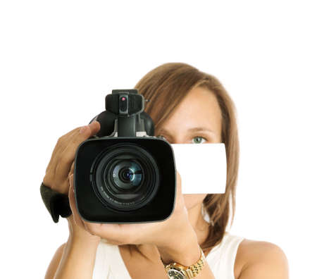 video cameras: filming (focus on lens) Stock Photo
