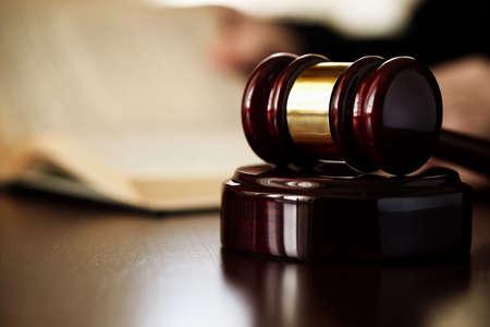 lawyer symbol: gavel, selective focus on metal part,