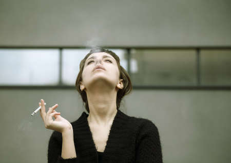 smoking woman Stock Photo