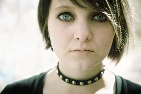 emo or goth young woman, natural light, photo