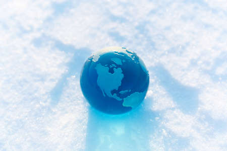 globe on the snow photo