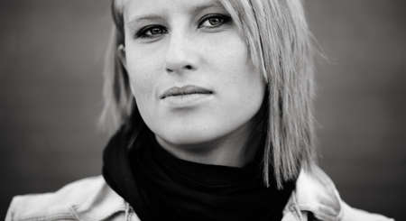 close-up of blond young woman ,urban portrait, natural light Stock Photo - 8074412