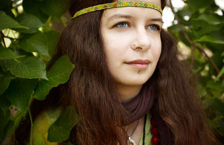 mujer hippie: Mujer de hippie  Foto de archivo