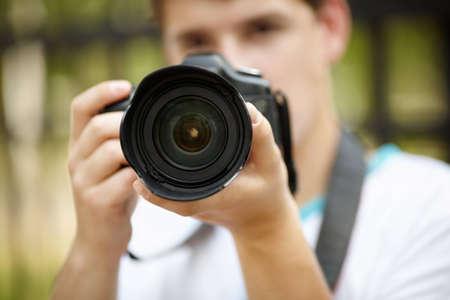 hobbyist: young photographer  Stock Photo