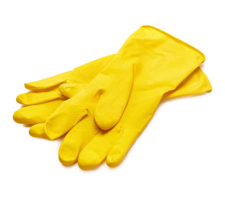 Yellow dish gloves isolated on white background with soft shadow,selective focus Stock Photo