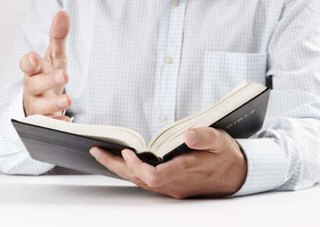 bible book: reading the Bible Stock Photo