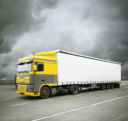 truck  with clean white area Stock Photo