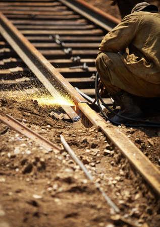 ferrocarril: Mantenimiento de ferrocarril Foto de archivo