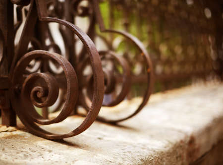 iron gate: Wrought Iron Fence Detail Stock Photo