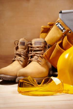 calzado de seguridad: seguridad en la construcción Foto de archivo