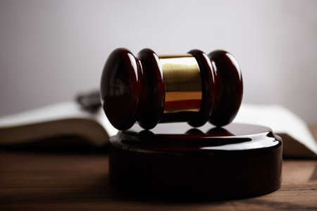 proceedings: gavel, selective focus ,toned  Stock Photo