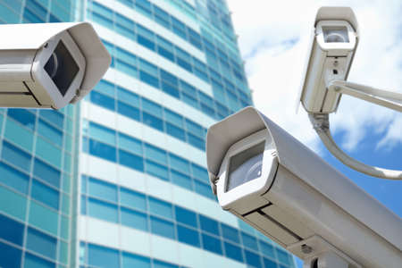 security cameras: surveillance cameras Stock Photo