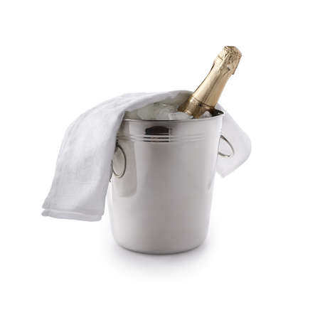 champagne bucket with ice and champagne bottle isolated on white photo