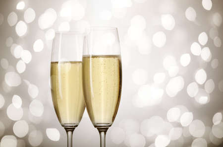 Closeup of flutes of champagne photo