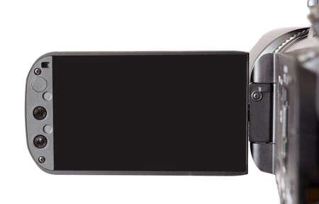 highend: camcorder high-end isolato su sfondo bianco con schermo in bianco